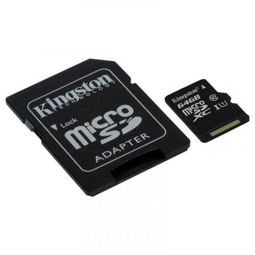 Kingston microSDXC UHS-I 64Gb con adattatore SD SDC10G2/64GB