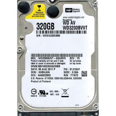 """Hard Disk 2.5"""" WD 320GB WD3200BVVT"""